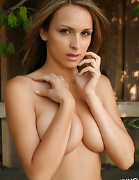 Perfect Alluring Vixen babe Candice teases topless outside in just her lace panties