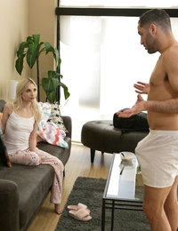 Damon Dice walks in on his stepdaughter Piper Perri doing chores, but their quiet moment is instantly interrupted when Piper comments on the size of Damon's dick. Later, Damon inadvertently walks in on Piper masturbating while sporting some serious morning wood. When Piper insists on pointing it out, Damon bends her over his knee for a spanking. Learning that Piper enjoys getting her ass smacked just incenses Damon even more. Finally, exasperated, he whips his dick out.Piper instantly asks to lick her stepdad's dick and then immediately disobeys his order that she can have just the tip. Her punishment is a deep throat blowjob that leaves her bald pussy dripping for more. Damon obliges, laying her down on the couch and pushing deep into her tight spinner fuck hole. From that position he pounds away as her small boobs shake with each thrust.Sitting down on the couch, Damon watches as Piper climbs on top of him and goes to town riding his fuck stick. Her enthusiasm is palpable as she throws her whole body into screwing her stepdad. Getting down on her hands and knees, Piper moans with excitement as Damon fingers her roughly and then slides back in for one last round of breakneck banging before Damon pulls out and cums all over her fair skinned bottom.