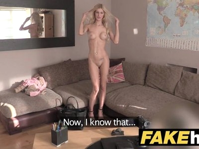 Fake Agent UK Blonde orgasms from hard finger banging