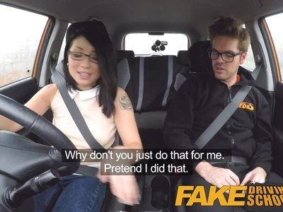 Fake Driving School wild ride for petite british Asian