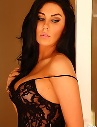 Stunning Alluring Vixen babe Danielle shows off her perfect curves in sexy black lace lingerie