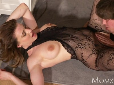 MOM Surprise office sex with wife in crotchless bodystocking