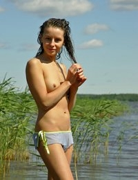 Vika lake wet slim teen blue bikini outdoor beach