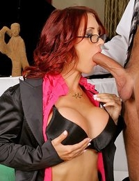Smoking hot big tits red head gets her box fucked hard in her office to get a million dollar sale in these hot realtor office fucking pics