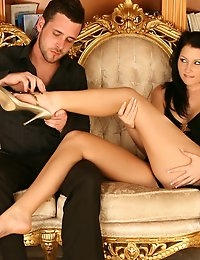 James worships at the end of Belecia's lovely long legs!