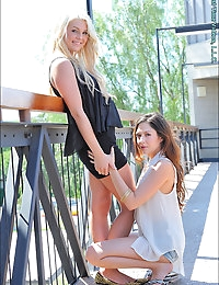 Both very popular, both still teenagers, and real life good friends, Chloe and Cassie are one of those matchups that makes FTV girl-girl shoots so fun, and natural. Its three seasons since these girls did their first time shoot on FTV, and through Chloe's influence, we set up a return shoot with her new best friend Cassie (who got voted most popular in spring 2012). We meet them at the airport, them flashing and acting dorky all the way back to the house. They are wearing cute clothes that are almost seethrough, and we watch them make out and play with each others' breasts. Getting touchy-feely, Cassie starts going down on Chloe, with closeups of her clit being tasted (notice the vaginal responses to Cassie's tongue) and it leads to some hard g-spot fingering. With Cassie assisting, Chloe uses the Eroscillator vibrator to a nice strong orgasm (or two?) with visible vaginal contractions. Chloe then seduces Cassie in the bathroom, teasing her nipples, then groping her while making out with her. She puts her on the counter and spreads her private parts, and plays with Cassie's very cute and petite feet, kissing and licking them. Back to the bedroom, its Cassie on the receiving end of oral sex, with an Eroscillator finish that brings her to orgasm with contractions as well. Putting on sexy clubwear < heels, they dance to music, then strip down and dance naked and out of control... jumping on the bed and having a pillow fight. The play leads to the garden where they use waterguns on each other, and roll around in the grass. Enjoy these two real life friends and lovers, in this rather unscripted fun day of teenage lesbian sex.