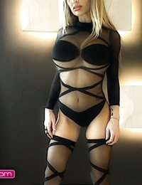 Barbara Belize shows off her black body suit