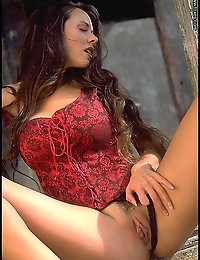 Cowgirl in Red Bustier