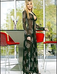 Sheer Gown Long Legs Blonde Swollen Vagina Lips