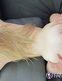 Blonde gives a foot massage