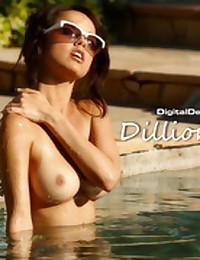 Dillion Harper goes for a dip in the warm pool