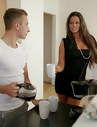 After a good night's rest, Kari likes to start the day with a nice cup of coffee. She sends her boyfriend Jason to get her one, but imagine her surprise when she comes down to see her best friend Simony Diamond giving her man a blowjob! Kari takes control of the situation, bringing the couple to somewhere they can have a little fun together. Kari and Simony take turns with Jason's throbbing cock, riding it until their pussies are dripping wet and then letting him eat them out so that they finally cum hard. After their erotic encounter builds to a climax, with Jason giving the lovely ladies a big facial to share, Simony leaves the couple to go back to their coffee and start their day off right.