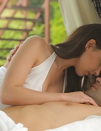 Dark haired Hennessy teases her man until he gives her the long hard fuck her insatiable pussy has been craving