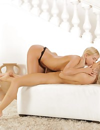 Blonde beauties Dido Angel and Noleta cant get enough of licking and fingering each others cum craving horny pussies