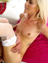 Petite spinner Halle Von teases her man with a miniskirt striptease then takes a hard pounding in her bald pussy