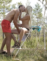 Luscious blonde babe Olivia Devine seduces her man outside with a striptease followed by a horny fuck in her bald pussy