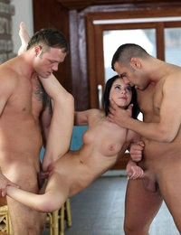 Petite spinner Jessica Swan uses her tight body to give her two guys the rides of their lives in this raunchy threesome