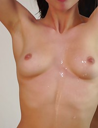 Cock hungry cutie Aidra Fox gets her man wet with oil then lets him fuck her lush boobs and her creamy horny pussy