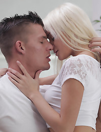 Spinner blonde Olivia Devine climbs on her mans hard cock and rocks his world with a juicy bald pussy stiffie ride