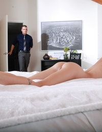 Spinner hottie Sammie Daniels stops masturbating for a hardcore bald pussy fuck when she is joined by her lover