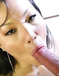 Asian Slut Asa Akira is getting stuffed full with Alec Knight's big dick!