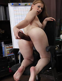 Dirty bitch fucks her asshole with a huge dildo