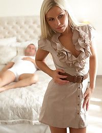 Beautiful blonde Dido Angel gets all dressed up then undresses and takes her man on a fuckfest frenzy in her bald pussy