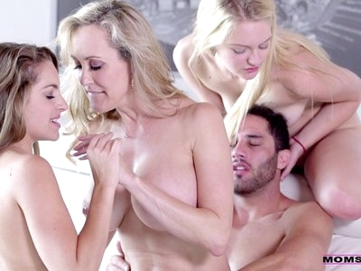 Brandi Love gets Alli Rae and Kimmy Granger naked to have a wild foursome fuckfest with their man