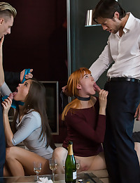"Brunette or redhead? If you are Caprice and Anny, the better question is, ""Why do we have to choose""? These beautiful girls want it all. Imagine two gorgeous couples sipping champagne at Anny's home."