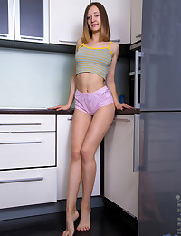 Nubiles.net Alexa Rush - Horny girl next door gets frisky in the kitchen teasing her twat