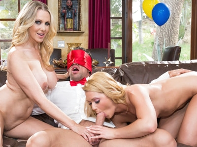 MILF Julia Ann treats step daughter Abby Cross to a 3some.