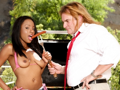Evan cheers up her black stepdaughter Tiffany Tosh with cock