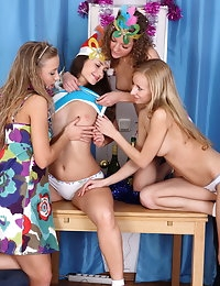 Holiday teen foursome photo #6