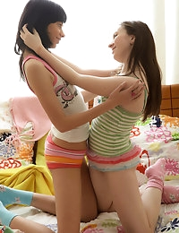 Teens dildoing on bed photo #4