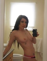 Cute girl with tattoos takes self shot pictures of herself in the mirror for her boyfriend photo #7