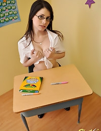 Cute teen school girl Hailey shows off her big perky tits to the teacher for a better grade photo #8