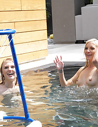 Horny college students blow off some steam in the swimming pool and end up fucking each other photo #6