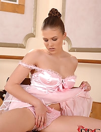 Rebecca Contreras : | BABES | babes | brunette | fingering | green eyes | pink | pussy insertion | pussy stretching | shaved pussy | small tits | socks | solo | uniform | : Free picture gallery : 1By-Day - 2 exclusive picture and video sets each day, the  photo #4