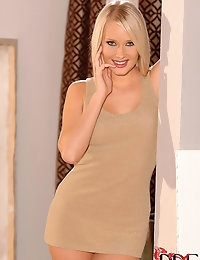 Gorgeous Blonde Czech Deni M. Strips Out Of Her Minidress photo #2