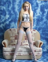 Teen in blue stockings photo #1