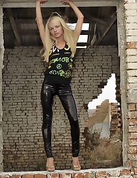 Eroberlin Helen F skinny russian shiny leggings teen photo #2